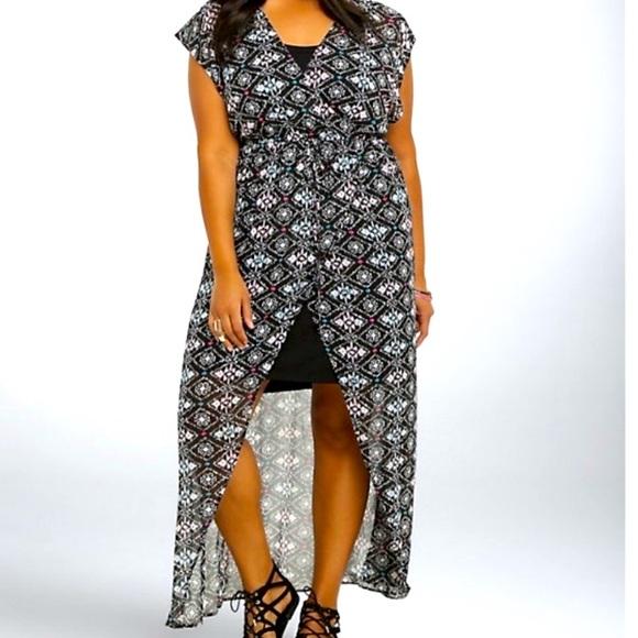 Torrid High Low Dress Tribal Ikat Print Size 2x
